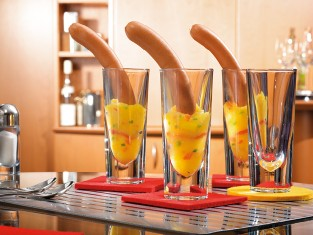Sausages decorated in glasses